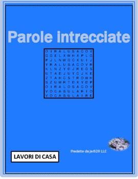 Lavori di casa (Chores in Italian) Wordsearch for differentiated learning
