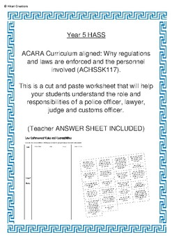 Law Enforcement Roles and Responsibilities Worksheet | Year 5 HASS (ACHSSK117)