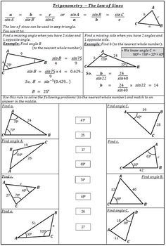Trigonometry - Law Of Sines Worksheet Activity. by 123 Math | TpT