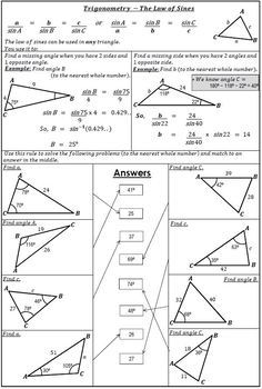 Trigonometry Law Of Sines Worksheet Activity By 123 Math Tpt