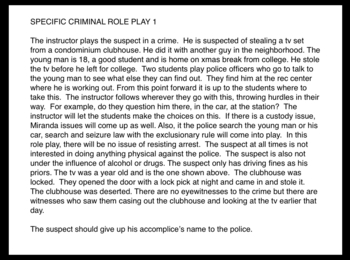 Law Role Plays Skits Criminal Justice