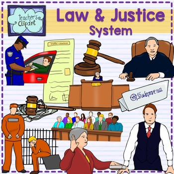 Law and Justice System Realistic Clip art - colored & line art {Social Studies}