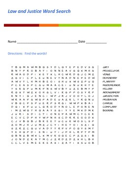 Law and Justice Word Search