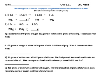Law of Conservation of Mass CFU