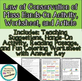 Law of Conservation of Mass Hands-On Activity and Coloring Worksheet