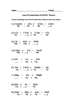 Law of Conservation of Mass II