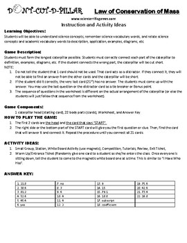 Law of Conservation of Mass Game Puzzle with Worksheet