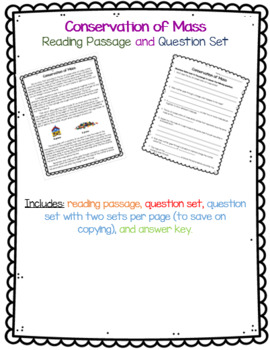 Law of Conservation of Mass Reading Passage and Question Set