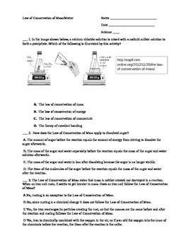 law of conservation of mass worksheet by shannon thomas tpt. Black Bedroom Furniture Sets. Home Design Ideas