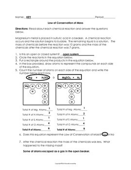 law of conservation of mass worksheet by science notebook chick tpt. Black Bedroom Furniture Sets. Home Design Ideas