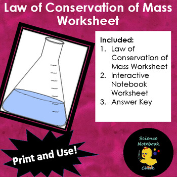 Law Of Conservation Of Mass Worksheet By Science Notebook Chick Tpt