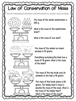 Conservation of mass worksheet 5th grade