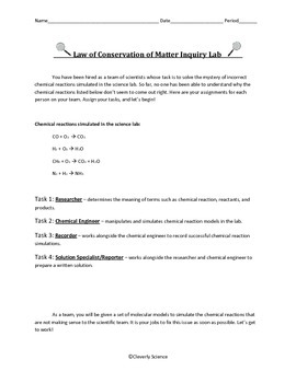 Law of Conservation of Matter Inquiry Lab