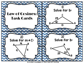 Law of Cosines: 30 Task Cards
