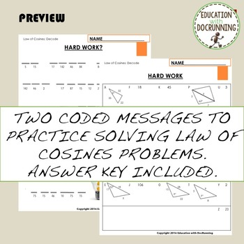 Law of Cosines Coded Message activity for trigonometry