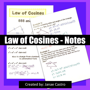 Law of Cosines - Notes
