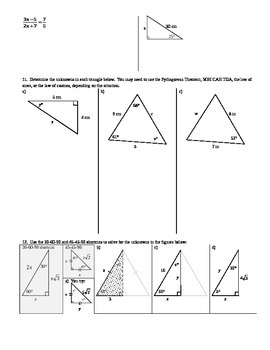 Law of Cosines Solving for Sides Spring 2014 (Editable)