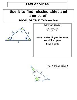 Law of Cosines and Sines Notes INB