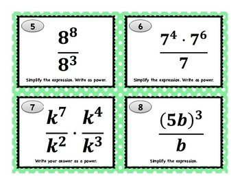 Law of Exponents Task Cards