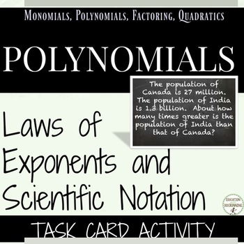 Law of Exponents and Scientific Notation Task Card Activity for Algebra 2