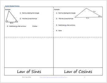 Law Of Sine And Law Of Cosine Foldable For Oblique