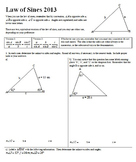 Law of Sines 2013 with Answer Key (Editable)
