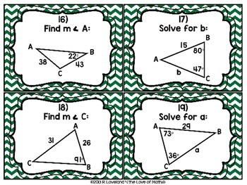 Law of Sines: 30 Task Cards