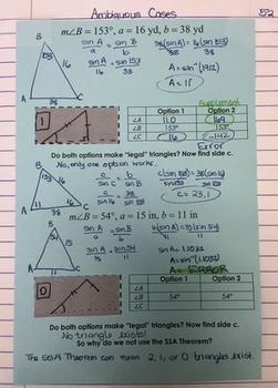 Law Of Sines Ambiguous Case Interactive Notebook Handout By Misscalcul8