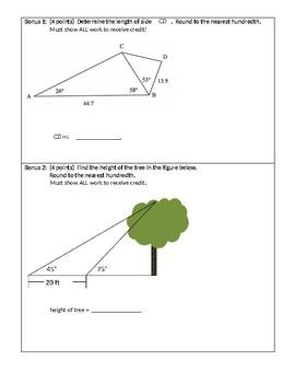 Law of Sines & Cosines Quiz