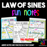 Trigonometry Law of Sines No Prep FUN Notes Doodle Pages