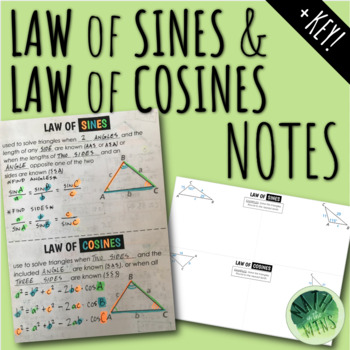 Law of Sines & Law of Cosines Foldable Notes