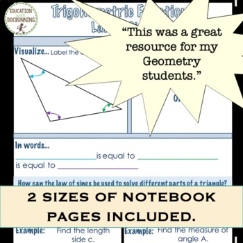 Law of Sines Foldable Notes and Practice for Law of Sines (Trigonometry)