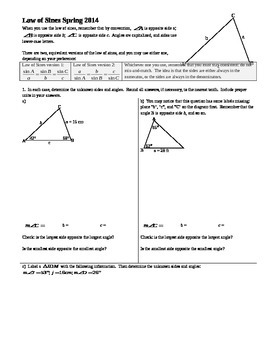 Law of Sines Spring 2014 (Editable)