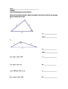 Law of Sines and Cosines Practice Worksheet with answer bank by ...