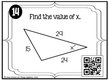 Law of Sines and Law of Cosines Task Cards