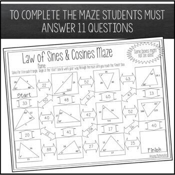 Law of Sines and Law of Cosines Maze Worksheet