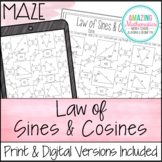Law of Sines and Law of Cosines Worksheet - Maze Activity