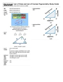 Law of Sines and Law of Cosines Trigonometry Study Guide