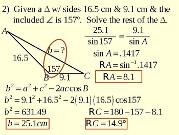 Law of Sines and Triangle Areas