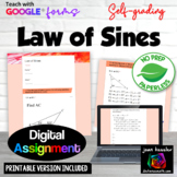 Law of Sines with Google™ Forms  Self Checking Assignment