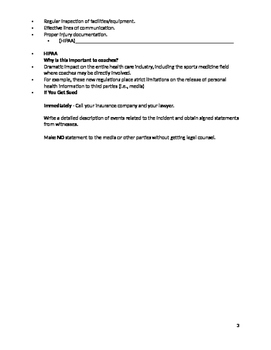 Law of Sports Injury Fill-in Notes