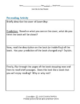 Lawn Boy Complete Literature and Grammar Unit