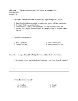 Lawn Boy Guided Reading Packet/Book Study with Answer Key