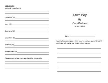 Lawn Boy Literature Unit