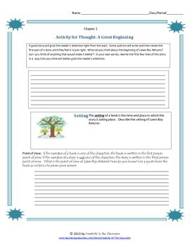 Lawn Boy Returns Novel Unit Plus Grammar