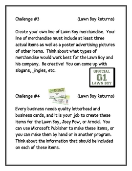 """""""Lawn Boy Returns"""", by G. Paulsen, Comprehen. Questions and Projects"""