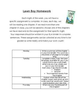 Lawn Boy Weekly Homework Guide
