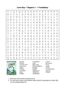 Lawn Boy - Word Search Chapters 1 - 4