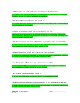 """""""Lawn Boy"""", by G. Paulsen, Comprehension Questions and KEY"""