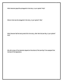 """Lawn Boy"", by Gary Paulsen, Character Chart"
